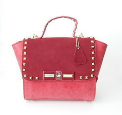 Brand New Womens Designer Genuine Leather Rivet Lock SatchelShoulder Bags Red