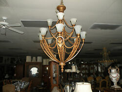 Bronze Gold Leaf Chandelier With 12 Inverted Lights And Bell Globes