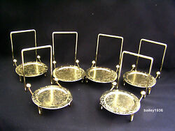 6 Tea Cup And And Saucer Stand Display Easel Brass Etched Base Tripar