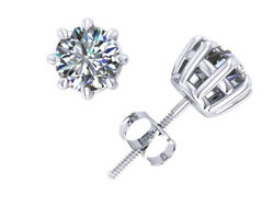1.50ct Round Diamond Basket Solitaire Stud Earrings 14k White Gold 8prong I Si2