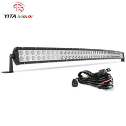 300w 52inch Led Light Bar Curved Flood Spot Combo Truck Roof Driving 4wd Offroad