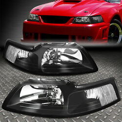 For 99-04 Ford Mustang Black Housing Clear Corner Headlight Replacement Lamps