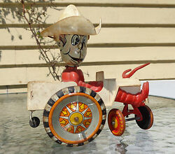 Old Marx Rin Litho Plastic Wind Up Cowboy Car Working