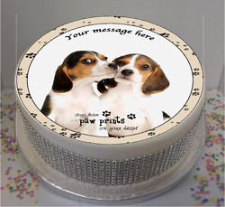 Personalised Beagle Puppies dogs with Quote 8quot; Icing Sheet Cake Topper
