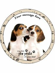 Personalised Beagle Puppies with Quote 7.5quot; Edible Wafer Paper Cake Topper dog