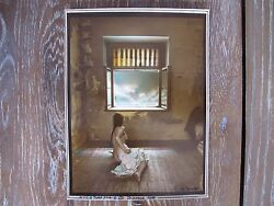 Jan Saudek Woman In Front Of Window Rare Signed Hand Coloured Photograph