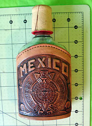 Mexico Mayan Calendar Aztec Hand Tool Leather Flask Glass Embossed Tequila