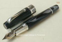 Montegrappa Extra 1930 Black And White Celluloid With Silver Fountain Pen Great