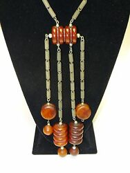 Antique Heavy Tribal Cherry Amber Red Faturan Bakelite Necklace 193 G Tested