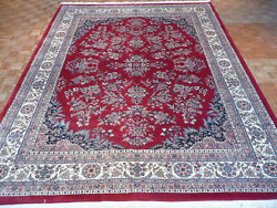 10 X 13 Hand Knotted Red Kashan Design Oriental Rug G1215