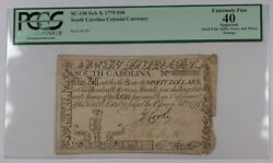 1779 South Carolina Colonial Currency 90 Dollar Note Sc-158 Pcgs Ef-40 Apparent