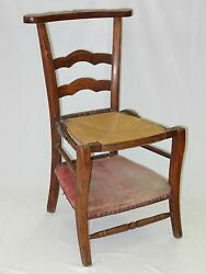 Antique French 19 C Country French Prie Dieu Kneeler Chair W/ Velvet And Rush Seat
