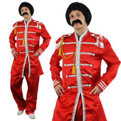 Red Sergeant Pepper Mens Costume 1960s English Boy Rock Band Outfit Fancy Dress