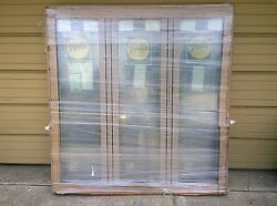 New Large Pella Wood 3-lite Picture Window W/ Cladding And Built-in Blinds 63x65