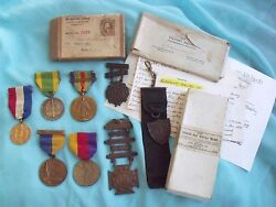 Rare Us Medal Grouping Capt Qmc 10k Gold Ww1 Spanish War Nyng Victory Research