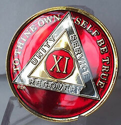 11 Year Mandarin Red Aa Alcoholics Anomymous Medallion Chip Coin Gold Tri Plated