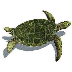 Mosaic Sea Turtles With Shadows For Swimming Pool Or Wall 33x24 Free Shipping