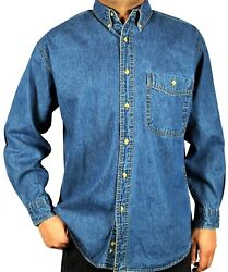 Denim Shirt -Men's Long-Sleeve Relaxed Fit Stone Washed Button down Collar. M-02 $22.95