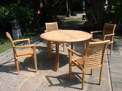 Sam A-grade Teak 5 Pc Dining 48 Round Table 4 Stacking Arm Chair Set Patio Nw