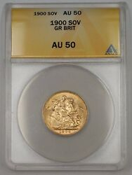1900 Great Britain One Sovereign Gold Coin Anacs Au-50