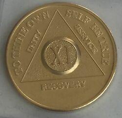11 Year Alcoholics Anonymous Aa 24k Gold Plated Medallion Chip Sobriety Coin