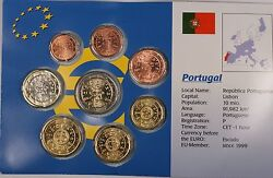 Portugal Euro Uncirculated 8 Coin Set Mixed Dates 1999-2002