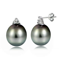 Sterling Silver 11mm Tahitian Cultured Pearl And White Topaz Stud Earrings