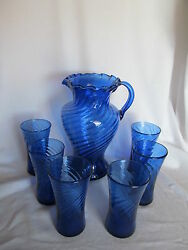 Vintage Spiral Optic Swirl Cobalt Blue Pitcher And Tumblers