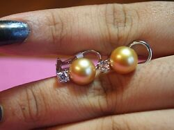 18kt White Gold 100 Authentic Golden South Sea Pearl Diamond Earrings Vs Video