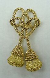 RARE VINTAGE TIFFANY 18K YELLOW GOLD ROPE KNOT TASSEL BROOCH PIN - MADE IN ITALY