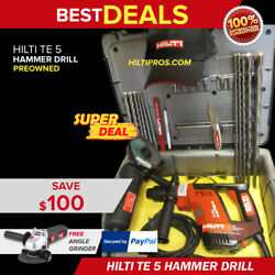Hilti Te 5 Drill, Excellent Condition, Free Angle Grinder And Extras, Fast Ship