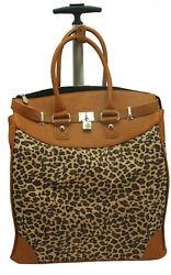 LEOPARD PRINT Foldable Carry on Rolling Tote for Traveling and Shopping $59.99