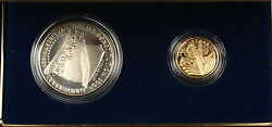 1987 Us Mint Constitution 2 Coin Gold And Silver Commem Proof Set As Issued Amt