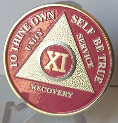 Pink And Silver Plated 11 Year Aa Chip Alcoholics Anonymous Medallion Coin Eleven