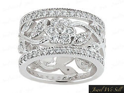 2.25ct Round Brilliant Cut Diamond Wide Flower Eternity Band Ring 14k Gold G Si1