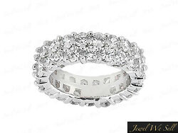 4.6ct Round Staggered 2row Anniversary Diamond Eternity Band Ring 14k Gold I Si2