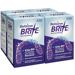 Retainer Brite 4 Pack - 1 Year Supply 384 Tablets | Free 2-day Shipping