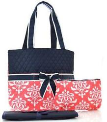 DESIGNER DIAPER BAG BabyTote BlackCoral Damask Floral 3 Piece Beautiful NEW $32.88