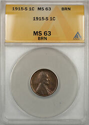 1915-s Lincoln Wheat Penny 1c Coin Anacs Ms-63 Brn Better Coin Rm