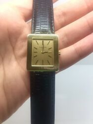 Vacheron Constantin 18k Yellow Gold Menand039s Watch W/leather Band