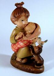 Anri Carved Wood Figurine Young Mother With Baby Bird And Kitten Cat 6