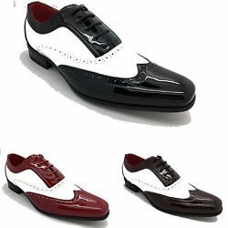 Mens Brogue Patent Gangster Rounded Leather Hip Hop Spat Party Shoes Sz 6-12