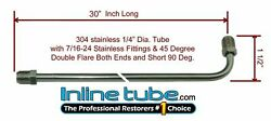 1/4 Brake Line 30 Inch Stainless Steel 90 Degree Bend Flared 7/16-24 Tube Nuts