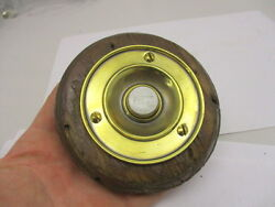 Victorian Round Brass Doorbell With Porcelain Press Architectural Antique Old