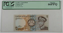 1981 Lesotho Central Bank 2 Maloti Note Scwpm 4a Pcgs 66 Ppq Gem New