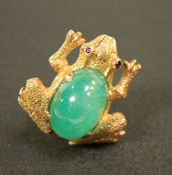 14kt Yellow Gold Round Jade Frog Ring Small Bezel Set Ruby Eyes Size 5