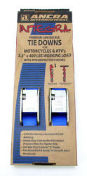 Classic Motorcycle Tie Downs 5.5ft X 400lbs Soft Hooks Blue Tie-down