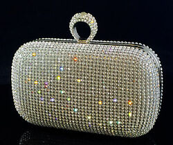 Sparkling Clutch Silver Evening Bag made w Swarovski Crystal Ring Clasp Bridal $107.10