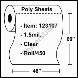 1.5 Mil Poly Sheets 48x60 Clear - Roll/450 Plastic Drop Cloth Cover 123107