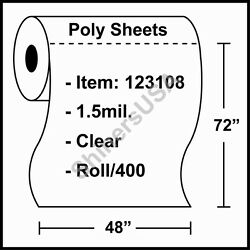 1.5 Mil Poly Sheets 48x72 Clear - Roll/400 Plastic Drop Cloth Cover 123108